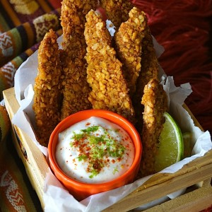 Spiced Tortilla Baked Chicken Strips Recipe & Honey-Lime Crema