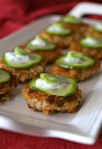 Spicy Eggplant-Almond Cakes with Cilantro-Lemon Yogurt