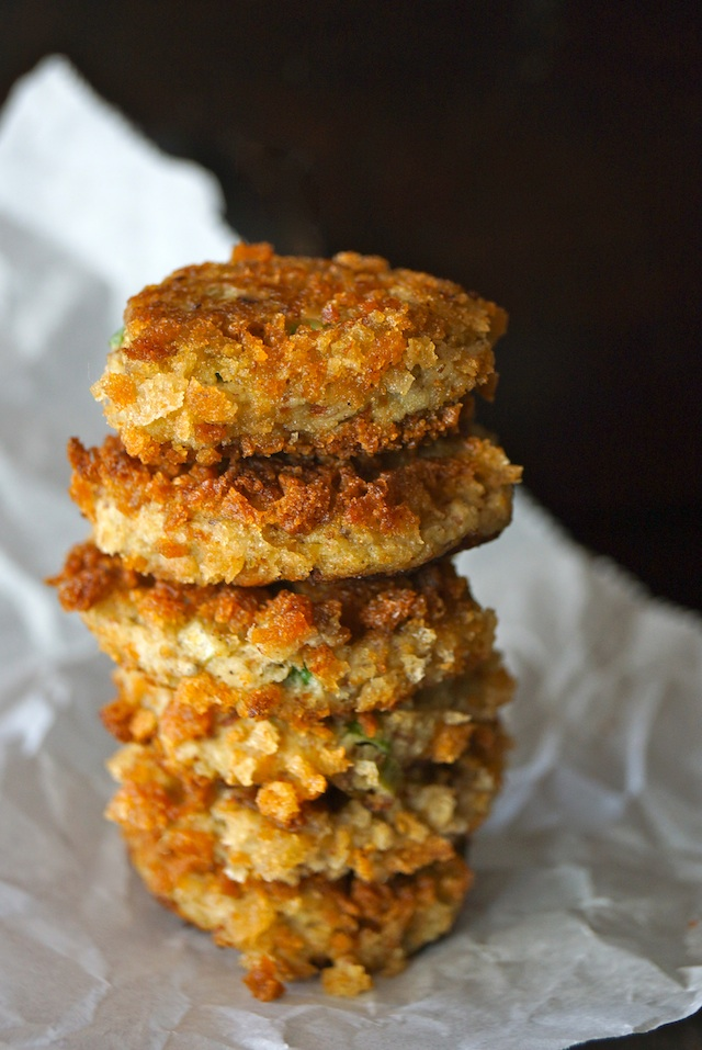 tall stack of eggplant cakes on parchment