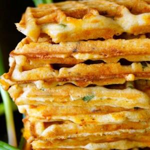 Cheddar Gluten-Free Waffles Recipe Brown Butter Blueberry-Bacon Waffle ...