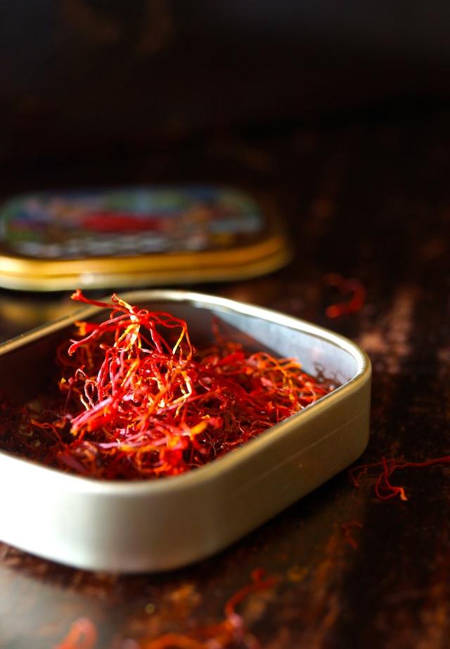 Small gold case of saffron threads for Saffron Basmati Rice Recipe with Fresh Dill .