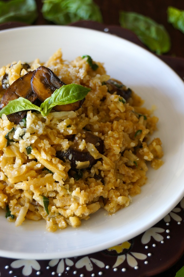 """Sherry Mushroom Cauliflower """"Risotto"""" -- Riced Cauliflower is the star of this rich and creamy, healthier """"risotto."""" Basil, sherry and mushrooms make this a wonderfully earthy-flavored dish that your whole family will love!"""