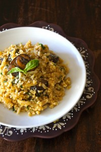 "Sherry Mushroom Cauliflower ""Risotto"" -- Riced Cauliflower is the star of this rich and creamy, healthier ""risotto."" Basil, sherry and mushrooms make this a wonderfully earthy-flavored dish that your whole family will love!"