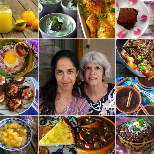 A photo collage of a Dozen Mother's Day Recipes From my Mom, and my mom and me.