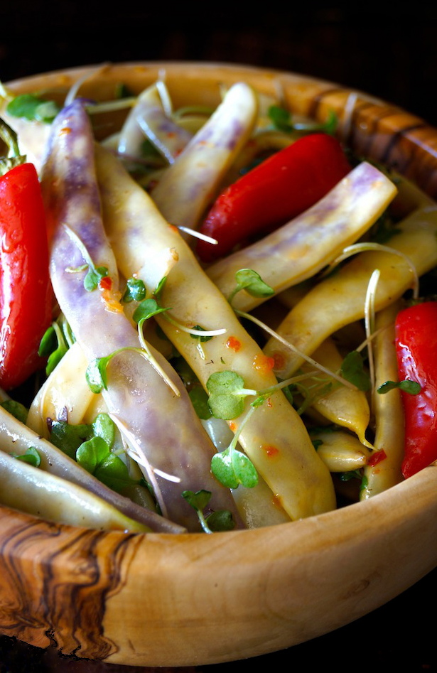 Dragon Tongue Bean Salad in a wooden bowl