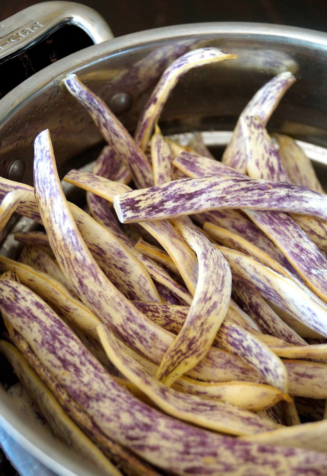 raw Dragon Beans in a steamer pot