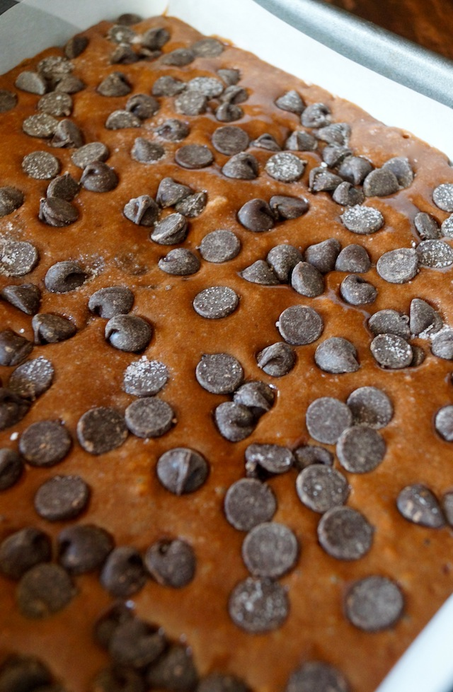 Gluten-Free Brownie Cake batter in pan
