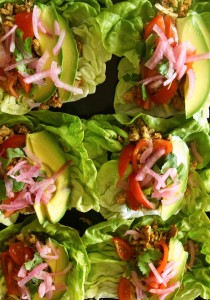 Pepper Jack Turkey-Pickled Onion Lettuce Tacos