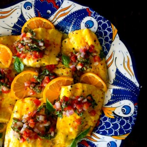 affron-Orange White Fish with Tomato-Basil Salsa -- A stunning, light and healthy fish dish that's easy to prepare and unbelievably delicious!