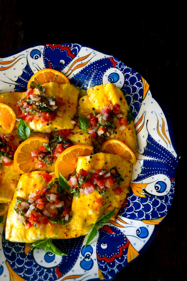 Saffron Orange Whitefish with Tomato Basil Salsa Recipe on a gorgeous, brightly colored, fish painted platter