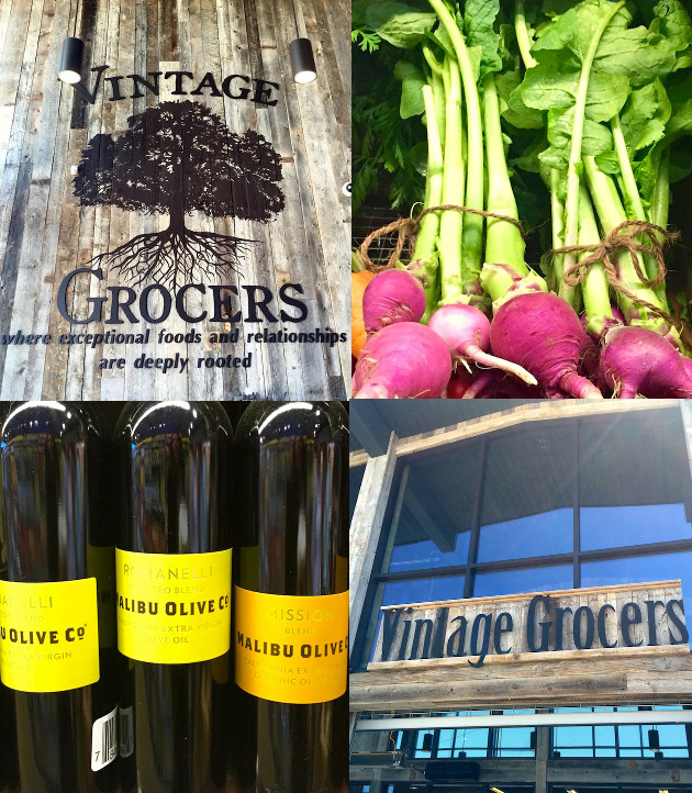 Photo collage of Vintage Grocers wooden sign, olive oil bottles, bright pink beets and store front.