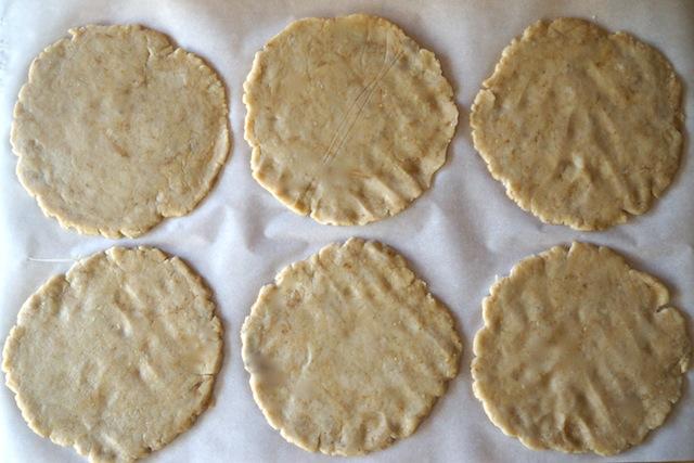 6 circles of savory pie dough for chorizo-potato hand pies