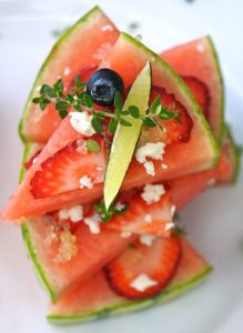 "Watermelon Pizza Recipe - The raw watermelon ""pizza"" is a beautiful, refreshing, and super delicious summer dish!"