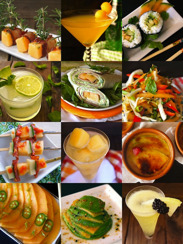 Collage of 12 Summer Melon Recipes.