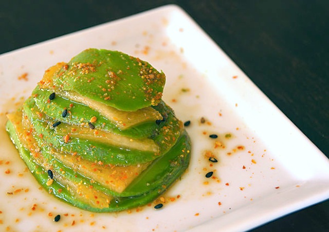 Ponzu Stacked-Avocado and Sugar Kiss Melon