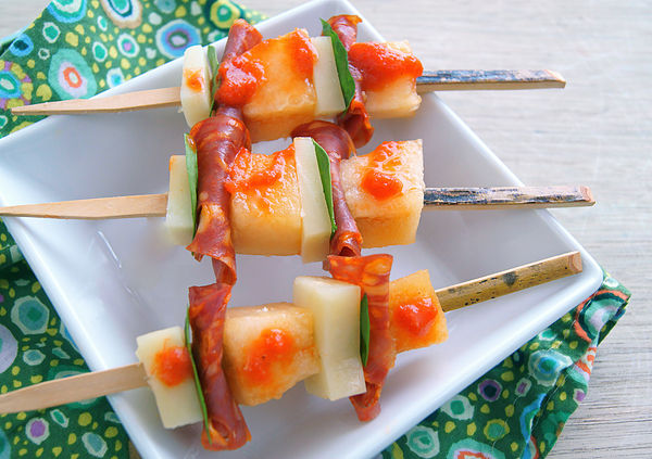 Sugar Kiss Melon-Chorizo and Manchego Kebabs with Hot Pepper Sauce