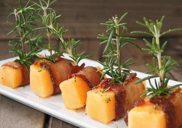 Summer Melon Recipes -- Rosemary Bacon Wrapped Golden Kiss Melon
