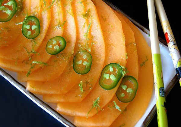 Summer Melon Recipes - Golden Kiss Melon Carpaccio with Citrus-Jalapeno Sauce