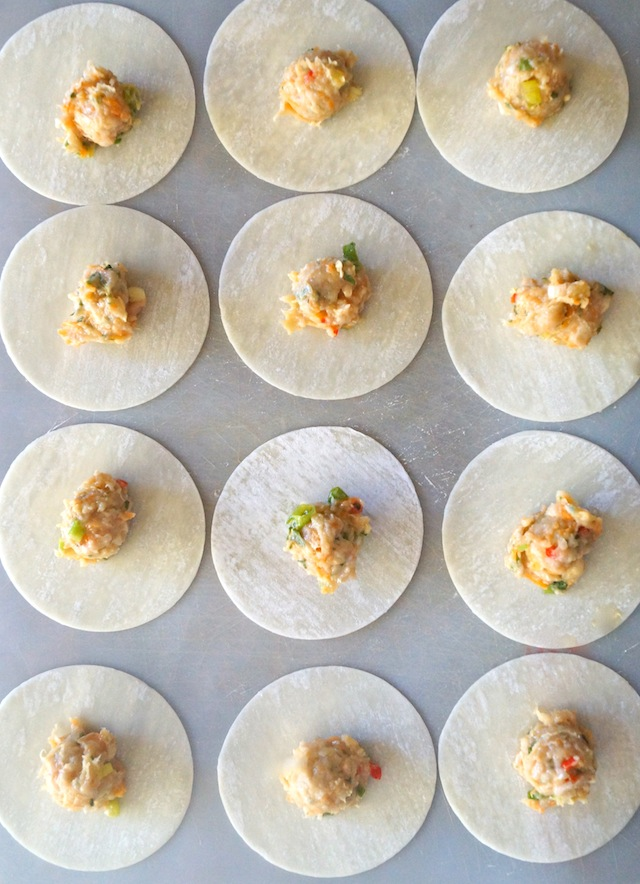 Garlic Ginger Chicken Dumplings being assembled on parchment paper