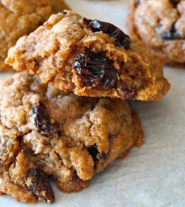 close up of the inside of cinnamon raisin cookie