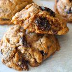 Cinnamon Raisin Cookie with one broken in half