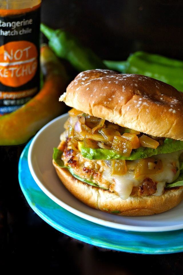 Hatch Chile Pineapple Salsa Turkey Burger Recipe with Not Ketchup bottle and fresh hatch chiles in background