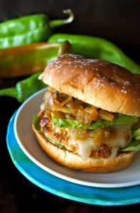 Roasted Hatch Pineapple Salsa Turkey Burger -- A scrumptious turkey burger filled with spicy roasted Hatch chiles and sweet fruit. It just doesn't get any better!