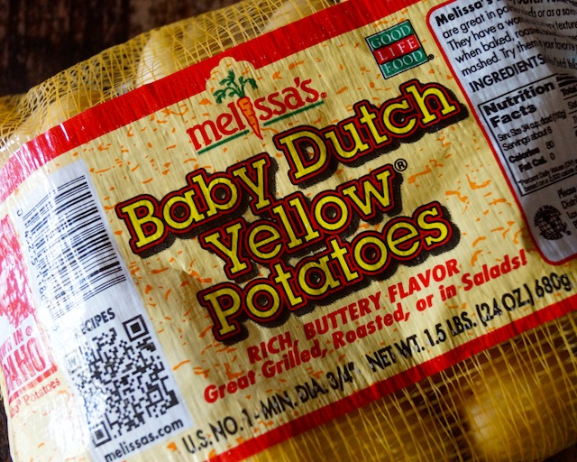 Melissa's Produce mesh bag of Baby Dutch Yellow Potatoes.