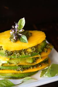 Mango Avocado Pesto Stack Recipe -- Fresh, sweet, creamy and slightly spicy -- you won't believe how utterly delicious a combination of mango, avocado and pesto is!