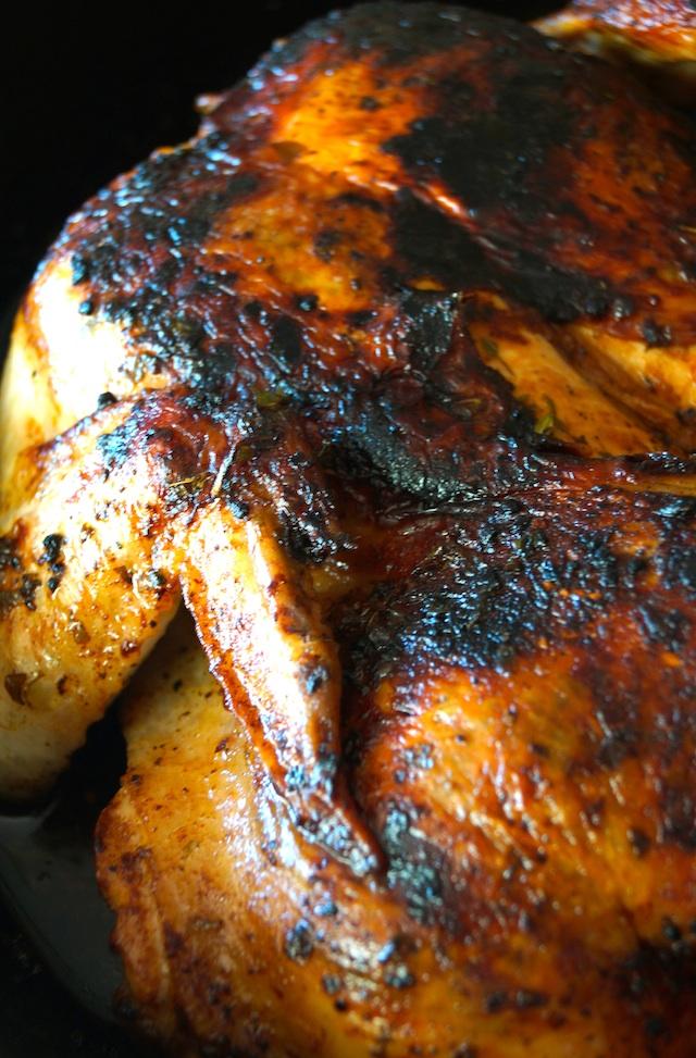 Lemon Herb Chicken Under a Brick Recipe in pan