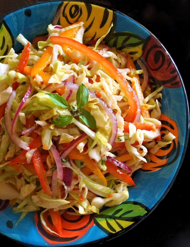 Asian Slaw Recipe with Basil in a floral blue, ceramic bowl