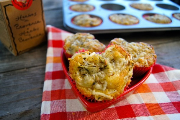 Herbs de Provence Potato Asiago Muffin shaped like a heart