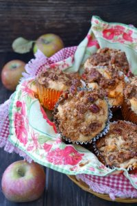 Spiced Buttermilk Roasted Apple Muffin Recipe -- These Spiced Buttermilk Roasted Apple Muffins are the essence of fall. They're warmly spiced, full of tender, sweet apples, and are as comforting as can be!