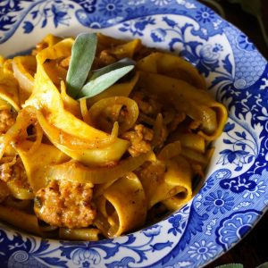 Spiced Chicken Sausage Pumpkin Pappardelle is hearty, cozy and full of delicious, warming fall flavors that will keep you coming back for more.