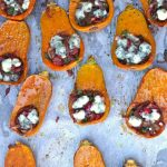 Caramelized Onion-Bacon & Cranberry Honeynut Squash Recipe -- Caramelized Onion-Bacon & Cranberry Honeynut Squash is one of the prettiest & most delicious Thanksgiving side dish recipes!
