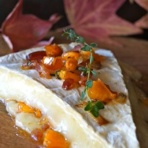 Cinnamon Persimmon Bacon Baked Brie Recipe