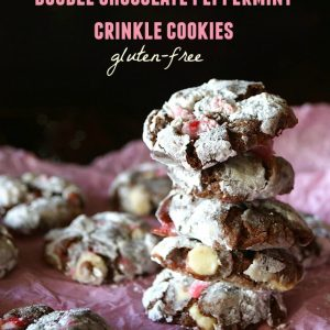 Gluten-Free Double Chocolate Peppermint Crinkle Cookies