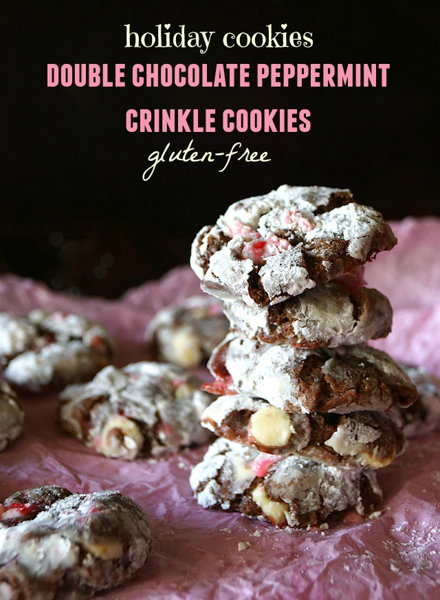 Gluten-Free Chocolate Peppermint Crinkle Cookies stacked on pink tissue paper