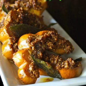 Pecan Crusted Acorn Squash with Crispy Sage Leaves