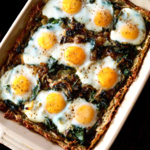 Potato Crusted Prosciutto Eggs Florentine