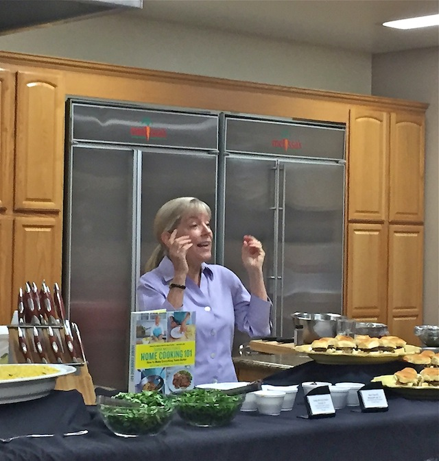Sara Moulton doing a cooking demo
