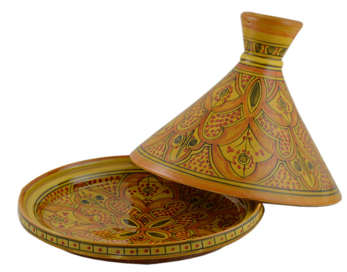 Decoratively painted Tagine with top removed