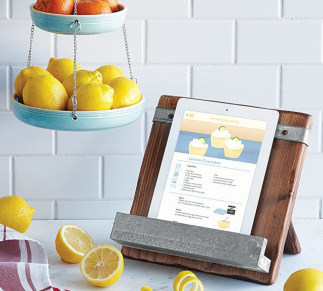 reclaimed cookbook and ipad stand with ipan in white kitchen