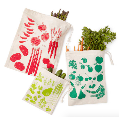 3 non-plastic produce bags with veggie pictures