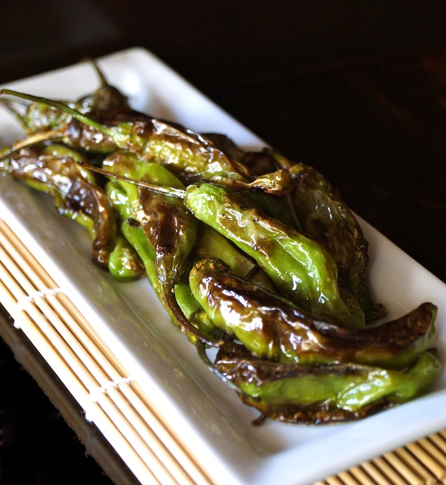 blistered shishito peppers on a narrow white plate