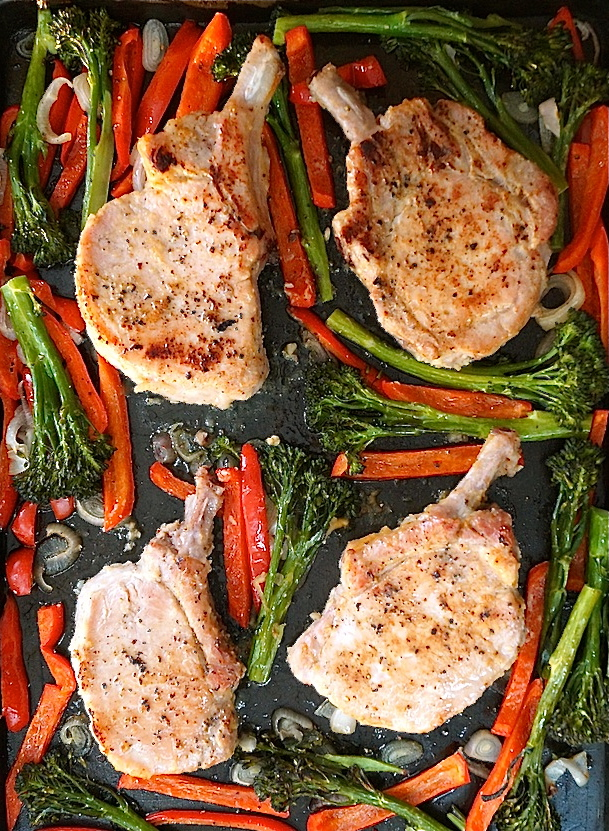 Sheet Pan Miso Glazed Pork Chops with Broccolini -- This quick and easy sheet pan dinner is packed with delicious Asian flavors and will blow your taste buds away.
