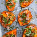 Bacon Basil Baked Sweet Potato -- Comforting, sweet, savory, creamy & fresh -- this recipe is all of that!