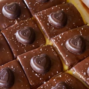 Passion Fruit Chocolate Ganache Bars -- Sweet, tart and oh-so-chocolaty! Rich, creamy and oh-so dreamy! It's the perfect Valentine's Day dessert.
