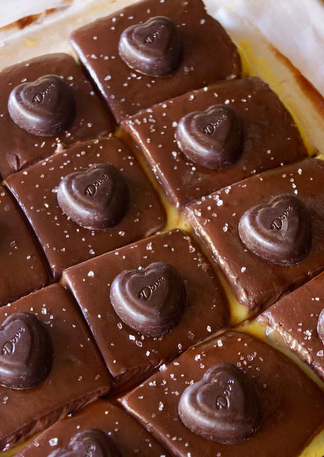 several Passion Fruit Chocolate Ganache Bars cut into squares