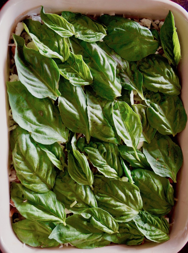 Greek-Style Lasagna Recipe with lamb in baking dish covered with fresh basil leaves